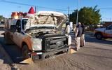 Agentes de Tránsito municipal atendieron el reporte de choque. Foto: Arturo Corona   El Sudcaliforniano